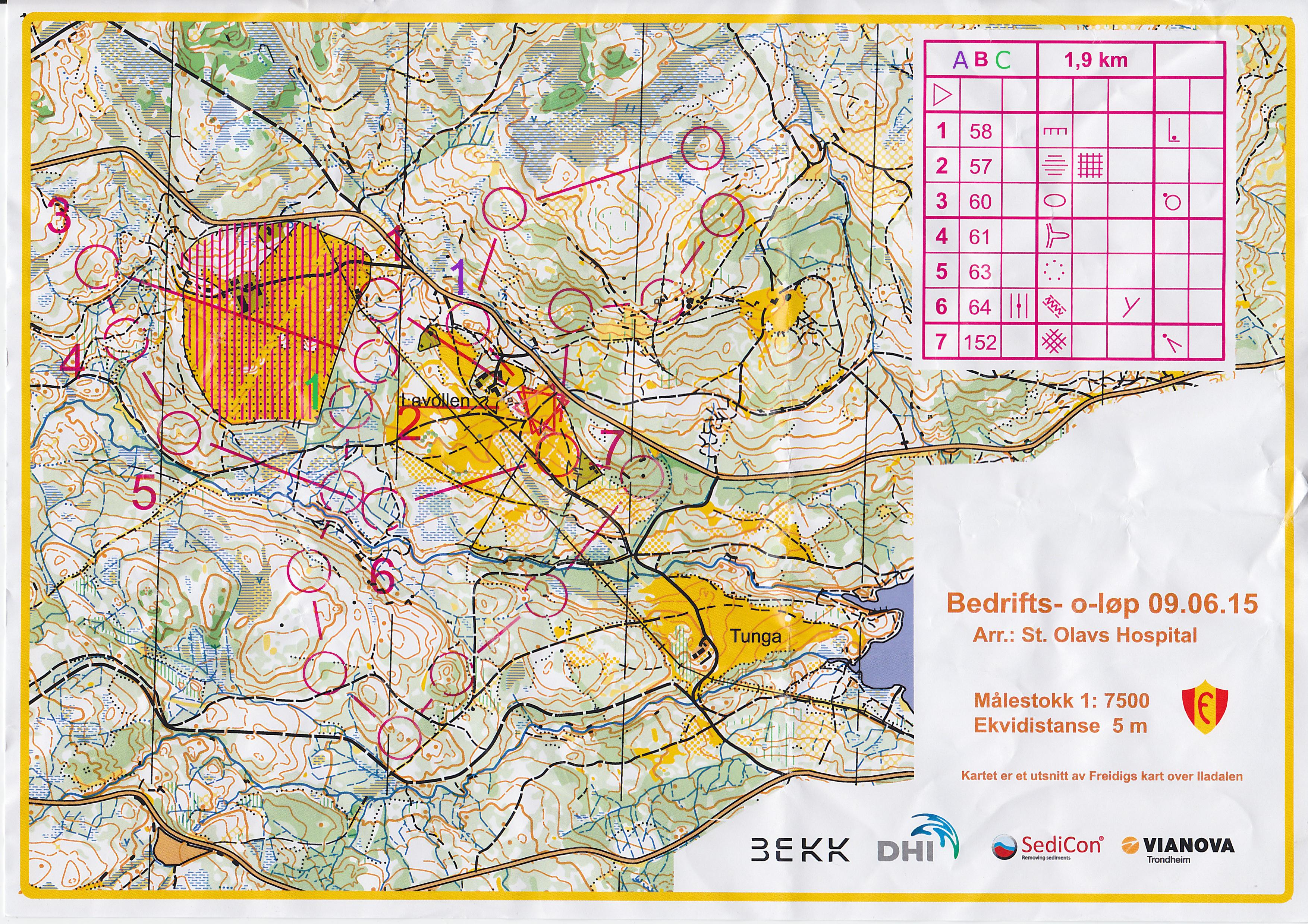 Bedrifts O Lop Lavollen June 9th 2015 Orienteering Map From